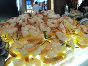Shrimp on the seafood buffet, along with mussels, oysters and smoked salmon.