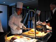 The carving station at the Hyatt Regency Thanksgiving buffet.. featured turkey, ham and prime rib.