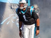 Panthers quarterback Cam Newton during player introductions.