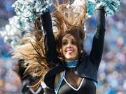 Carolina Panthers Top Cats cheerleaders perform during a timeout.