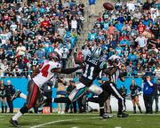 Panthers wide receiver Brandon LaFell can't quite get to this long bomb.