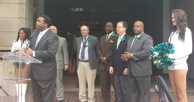 Mayor Alvin Brown led a news conference Monday morning to showcase the city's support for the Jaguars.
