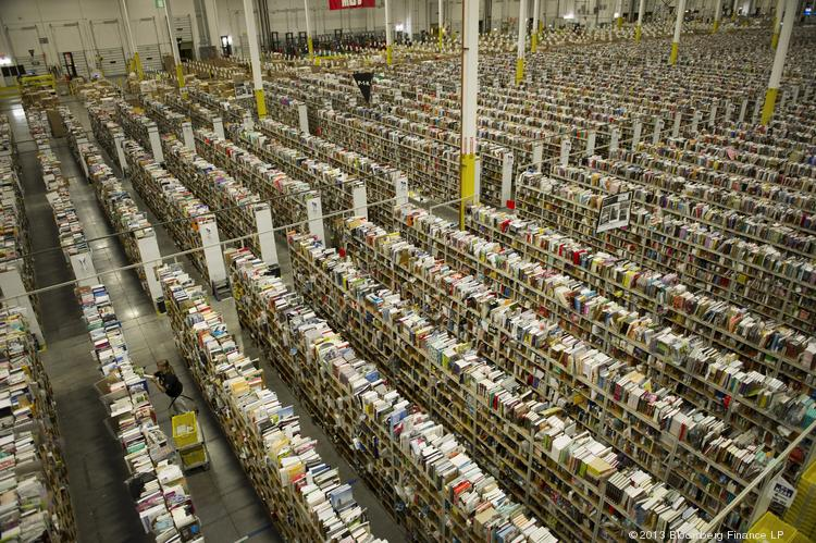 A view of the warehouse floor at the Amazon.com Inc. fulfillment center in Phoenix, Arizona earlier this week as the company geared up for the Cyber Monday online sales shopping blitz.