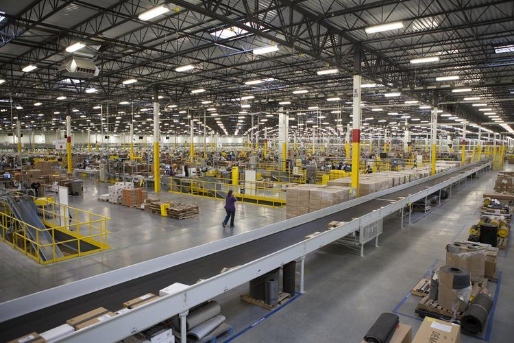 Amazon.com's fulfillment facility in Southern Indiana has a total of eight miles of conveyor, which are filled with items customers order online.
