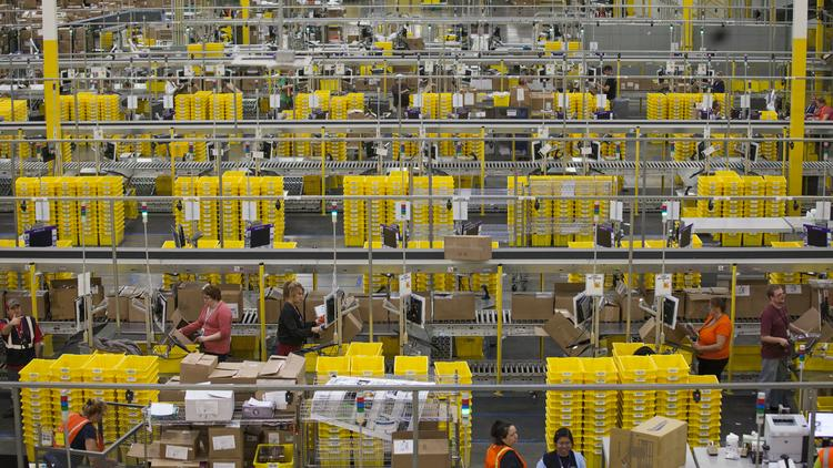Amazon.com Inc. plans to hire about 400 full-time workers for its fulfillment centers in Shepherdsville and Jeffersonville (shown here) in the next 30 days.