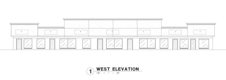 This architectural drawing shows the remodeled facade of Bryan Nguyen's shopping center at 31st Street South and Seneca.