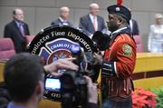 The Charlotte Fire Department Pipe and Drum Band played at Monday night's ceremony.
