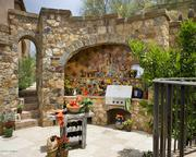 An outdoor kitchen.