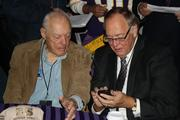 Former Vikings head coach and Pro Football Hall of Fame member Bud Grant (left) sits with Sen. Dave Senjem, R-Rochester, prior to the groundbreaking ceremony.