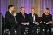 (From left) Mortenson Construction President David Mortenson, Minnesota Sports Facilities Authority CEO Ted Mondale, Minneapolis Mayor R.T. Rybak and MSFA Chairwoman Michele Kelm-Helgen sat on stage prior to the ceremony.