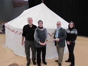 A team creating an exhibit around George Washington's war tent included, from left, Peter Marques of Tentsmiths of Conway, N.H.; Linda Eaton of Winterthur; Mark Hutter of Colonial Williamsburg; and Virginia Jarvis Whelan of Filaments Conservation Studio in Merion Station, Pa.