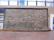 A prototype of a brass relief that will be on the exterior of the Museum of the American Revolution. It depicts the signers of the Declaration.