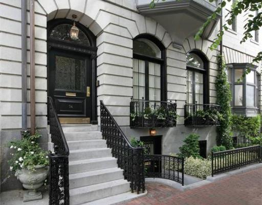 The exterior of 74 Beacon St. on the flat of Beacon Hill.
