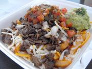 These seasoned fries are a great foundation for carne asada fries at Taqueria Jalisco. The outside of the fries take on a skin that's almost brittle. They stay crisp while letting meat juices and salsa to soak into the fluffy centers.