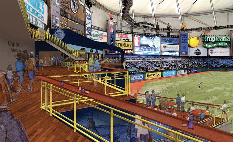 A rendering of the new deck overlooking the Rays Touch Tank that will connect the patio to the new walkway at its right field entrance.