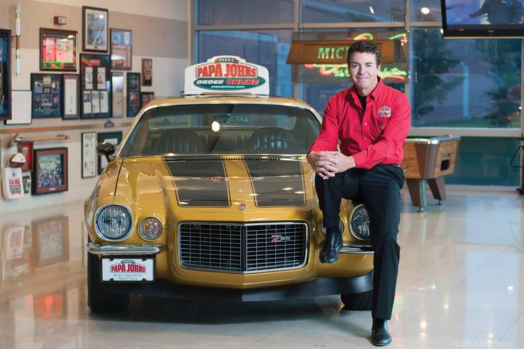 John Schnatter, founder, chairman and CEO of Papa John's International Inc., is shown with his prized 1972 Camaro Z28 that he sold to buy restaurant equipment for the company, which has grown into a large, successful public company. After a nationwide search in 2009, Schnatter found the car and paid the owner $250,000 for it.  ____________________________________________      Papa John's International Inc. Description: Operates limited-service pizza company with 4,250 stores in 35 countries worldwide  Founded: 1984 Founder, chairman and CEO: John Schnatter Employees: 16,436 Address: 2002 Papa John's Blvd. Website: www.papajohns.com 2012 revenue: $1.3 billion  ____________________________________________      Milestones September 2012: Papa John's opened its 4,000th store worldwide with a new location in New Hyde Park, N.Y. March 2013: The company was named as the most identified NFL brand sponsor by NFL fans. June 2013: Papa John's was rated No. 1 among all national pizza chains by American Customer Satisfaction Survey. July 2013: The company opened its 1,000th international store with a location in Moscow July 2013: Papa John's signed a partnership to be the official pizza partner of The Football League in the United Kingdom. August 2013: Tony Thompson was named president of the company.