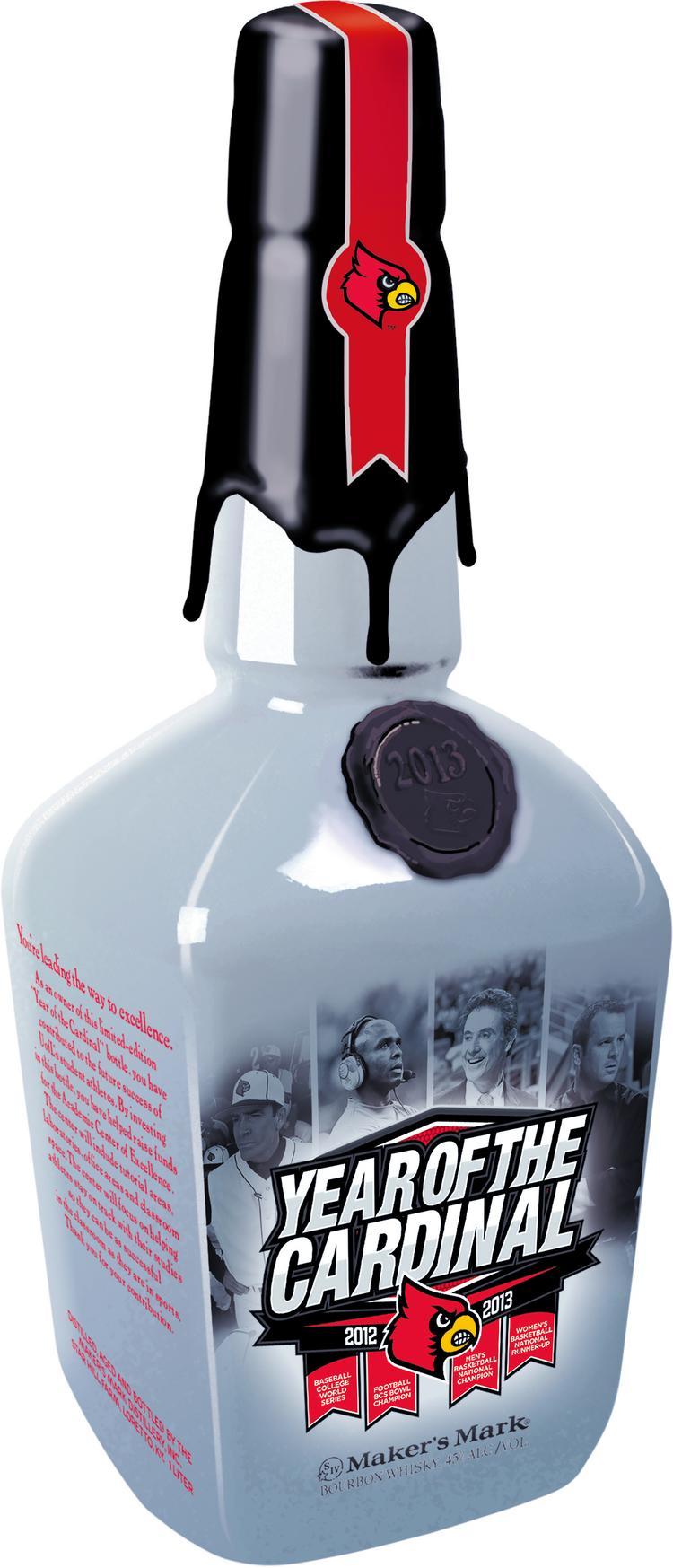 """Maker's Mark is donating 500 bottles celebrating the """"Year of the Cardinal,"""" which has included a Sugar Bowl victory in football, a College World Series appearance by the baseball team, a men's basketball national championship and a women's basketball national runner-up performance."""
