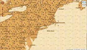 The Eastern Seaboard via Google Maps' Treasure Mode.