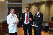Gov. Pat McCrory, center, talks with Wake Forest Baptist CEO Dr. John McConnell and Dr. Edward Abraham, dean of the Wake Forest School of Medicine, during his tour of the expanded Comprehensive Cancer Center on Tuesday.