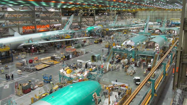 Boeing needs to win more than 300 orders of the current 777 model, pictured, to keep the Everett line running at current rate until deliveries of the 777X start.