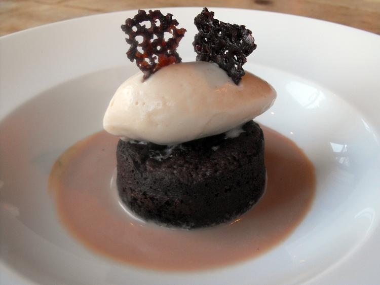 Almond flour lightens the density of a brownie in pastry chef Jane Anderson's dessert at Ella, served with peanut butter sherbet and chocolate milk.