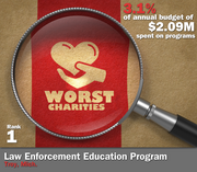 Law Enforcement Education Program of Troy, Mich., spent 3.1 percent of its $2.09 million in average annual expenditures on its mission to create and support educational programs around law enforcement.