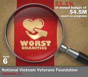 National Vietnam Veterans Foundation of Alexandria, Va., spent 11.1 percent of its $4.5 million in average annual expenditures on its mission to support veterans and veterans' organizations.