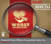 Disabled Police Officers Counseling Center Inc. of Niceville, Fla., spent 14.6 percent of its $649,711 in average annual expenditures on its mission to support law enforcement officers disabled in the line of duty.