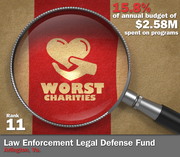 Law Enforcement Legal Defense Fund of Arlington, Va., spent 15.8 percent of its $2.58 million in average annual expenditures to support its mission to provide legal assistance to law enforcement officers for actions taken in the line of duty.