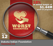 Dakota Indian Foundation of Chamberlain, S.D., spent 18 percent of its $1.44 million in average annual expenditures on its mission to educate Indian people and preserve Native American culture and language.