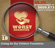 Caring for Our Children Foundation of Everett, Wash., spent 25.5 percent of its $609,673 in average annual expenditures on its mission to assist lesser known, under-funded nonprofits that aid victimized and missing children.