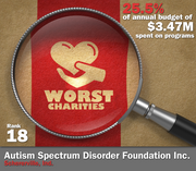 Autism Spectrum Disorder Foundation Inc. spent 25.5 percent of its $3.47 million in average annual expenditures on its mission to provide education about autism, early detection and treatment.