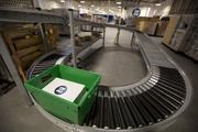 Conveyor belts keep things moving around the Zazzle production facilities.