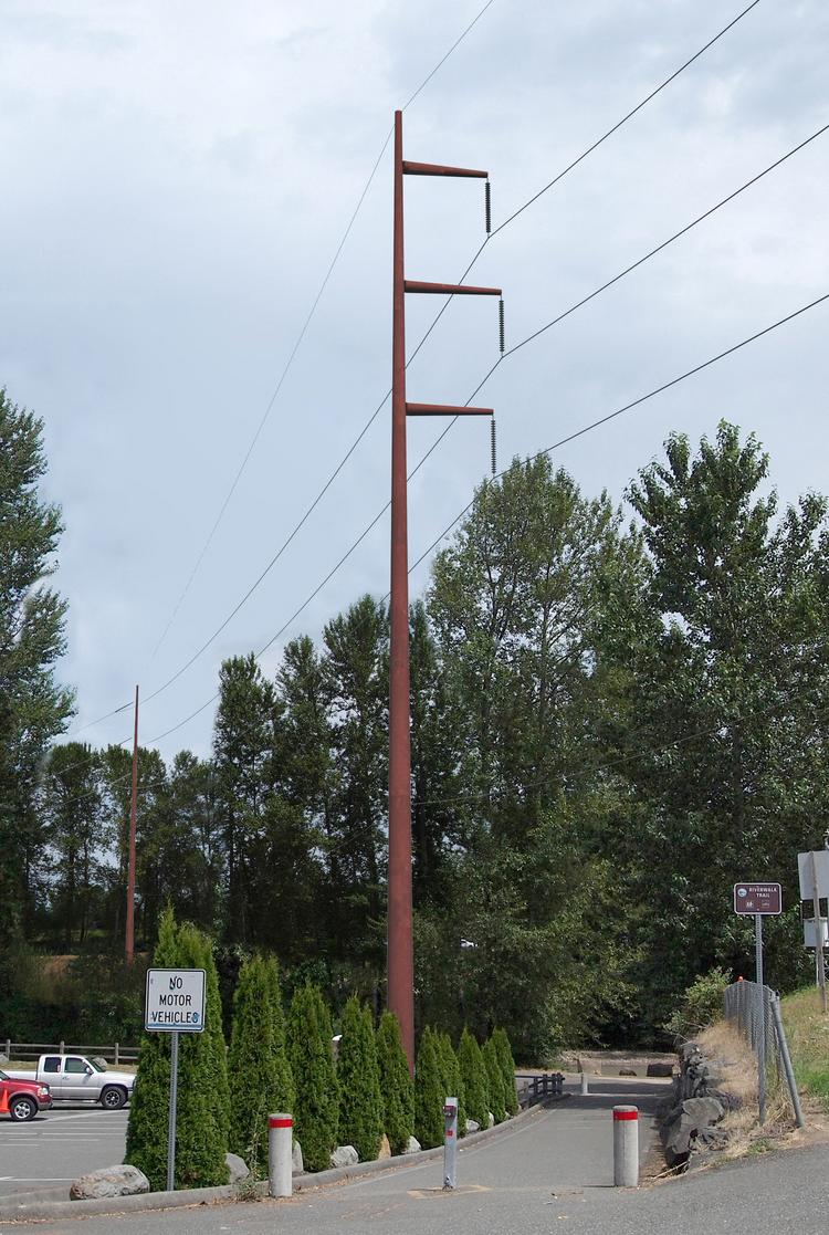 """Puget Sound Energy officials say they plan to use """"sleek"""" towers similar to this one as part of the Energize Eastside project, which will double the capacity of  transmission lines along an 18-mile corridor between Renton and Redmond. The route of the project has not been selected."""