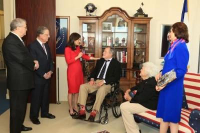 Former President George H.W. Bush is only the second recipient to receive the LBJ Foundation award. Here, from left to right, he's seen with Tom Johnson, LBJ Foundation chairman emeritus; Larry Temple, LBJ Foundation chairman; Luci Baines Johnson; Barbara Bush; and Lynda Johnson Robb.