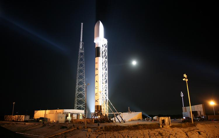 Space Exploration Technologies Corp.'s (SpaceX) Falcon 9 rocket on the launch pad at Cape Canaveral.