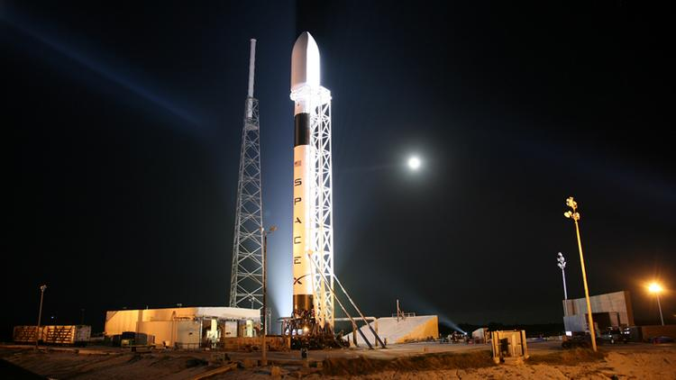 A SpaceX rocket stands in Cape Canaveral, Fla. in 2012. Sitting on Gov. Jerry Brown's desk is a bill that would give SpaceX and other commercial space companies a 10-year exemption on property taxes. The reasoning for the bill -- besides keeping and expanding jobs in California -- is that rockets shouldn't be taxed because they don't stay in California.