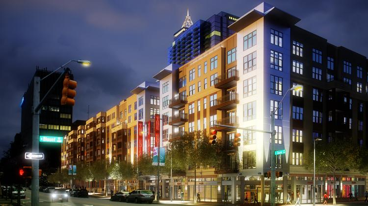 A rendering of the Edison Apartments to be constructed in downtown Raleigh.