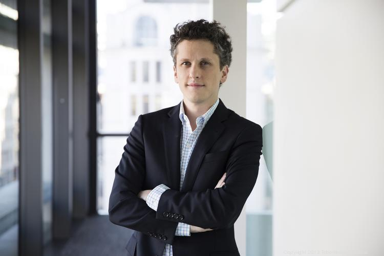 Aaron Levie, CEO of Box Inc., poses for a photograph following a Bloomberg Television interview in London, U.K.