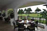 Part of the dining area on the patio that overlooks The Links golf course.