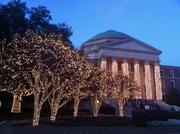 The campus of Southern Methodist University is aglow with lights during the holiday season.