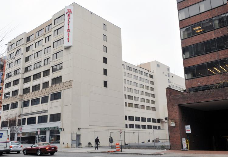 """A 168-room Hyatt Place Hotel is planned for the surface lot adjacent to the Washington Marriott. Because of zoning rules, the Hyatt will have to be an """"addition"""" to its competitor."""