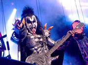 Gene Simmons onstage with KISS during their 2013 ArenaBowl Weekend concert at Amway Center.