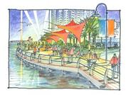 An artist's rendering of the Southbank RiverWalk upon completion.