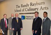 Mayor Karl Dean, Randy Rayburn, Nashville State representatives, Piedmont Natural Gas Foundation and Company executives unveiled the new culinary arts facility November 21 at the Southeast Campus of Nashville State Community College.   From left:  Dr. George Van Allen, Nashville State Community College President; Keith Napier, Director Customer Contact Centers, Piedmont Natural Gas; Randy Rayburn, owner of Sunset Grill, Midtown Cafe and Cabana; Mayor Karl Dean; Tim Greenhouse, Managing Director of Safety and Community Relations, Piedmont Natural Gas.