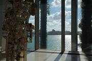 The art museum includes incredible views of PortMiami and the cruise line strip.
