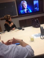 Tablet-to-television technology for conference room presentations at Gyro.