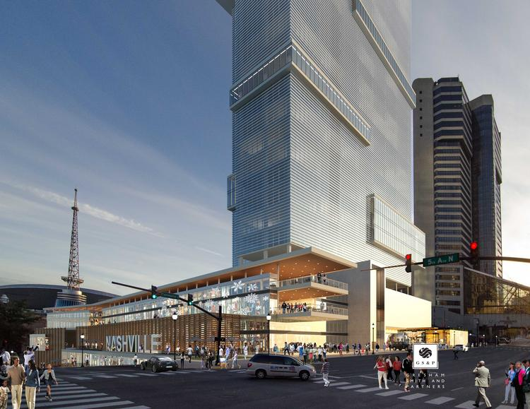 A rendering of proposed office tower for the Nashville Convention Center site.