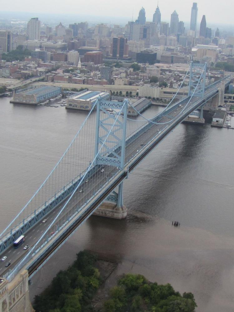 An aerial view of the Ben Franklin Bridge.