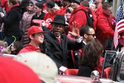 Cincinnati Mayor Mark Mallory waves during the Opening Day Parade.